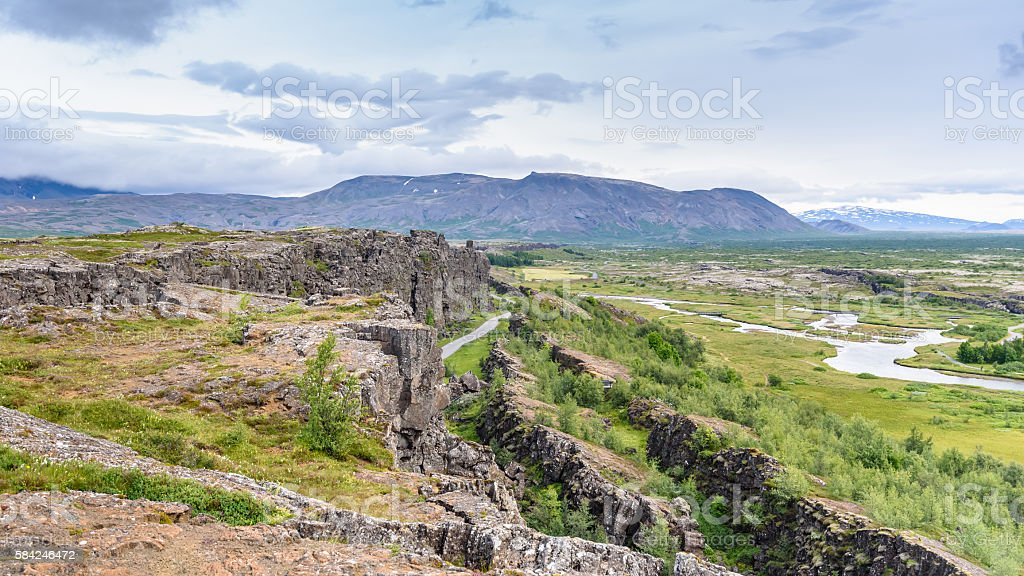Beautiful view in Thingvellir National Park, Southern Iceland stock photo