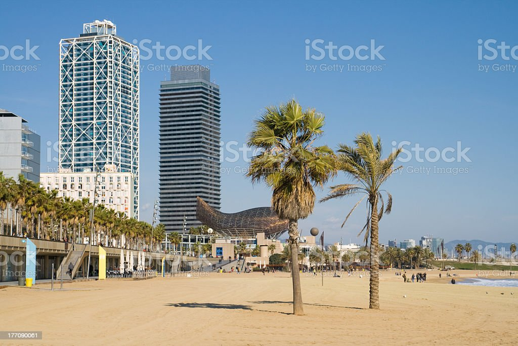 A beautiful view of a beach in Barcelona stock photo