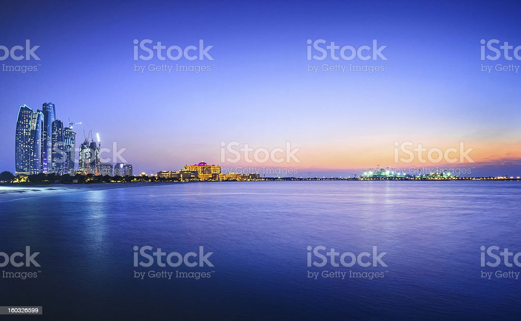 Beautiful view of a city and water in Abu Dhabi stock photo