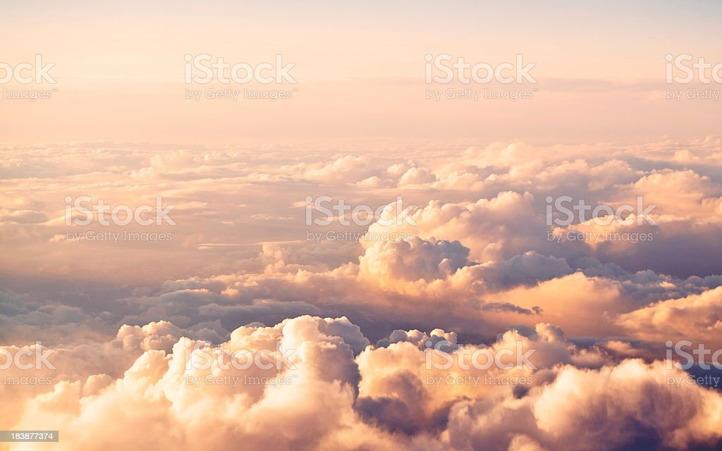 A beautiful view of a cloudscape at sunset stock photo