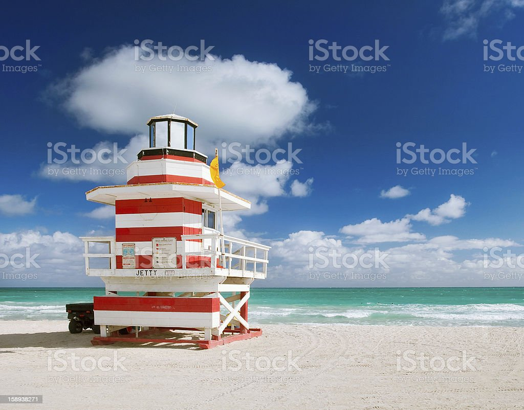 A beautiful view of a lifeguard house on Miami Beach stock photo