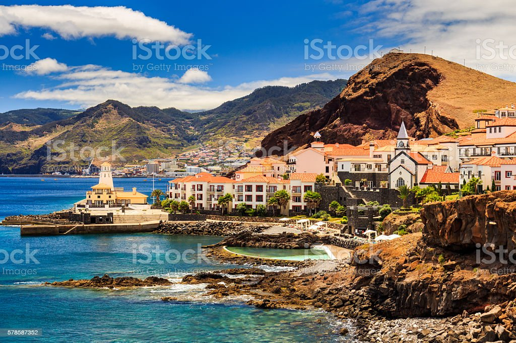 Beautiful view of a small town Canical, Madeira stock photo
