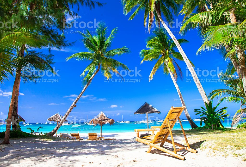 Beautiful view of a tropical beach stock photo