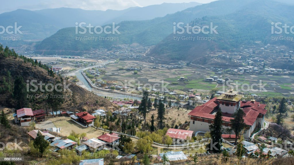Beautiful View of a valley in Bhutan stock photo