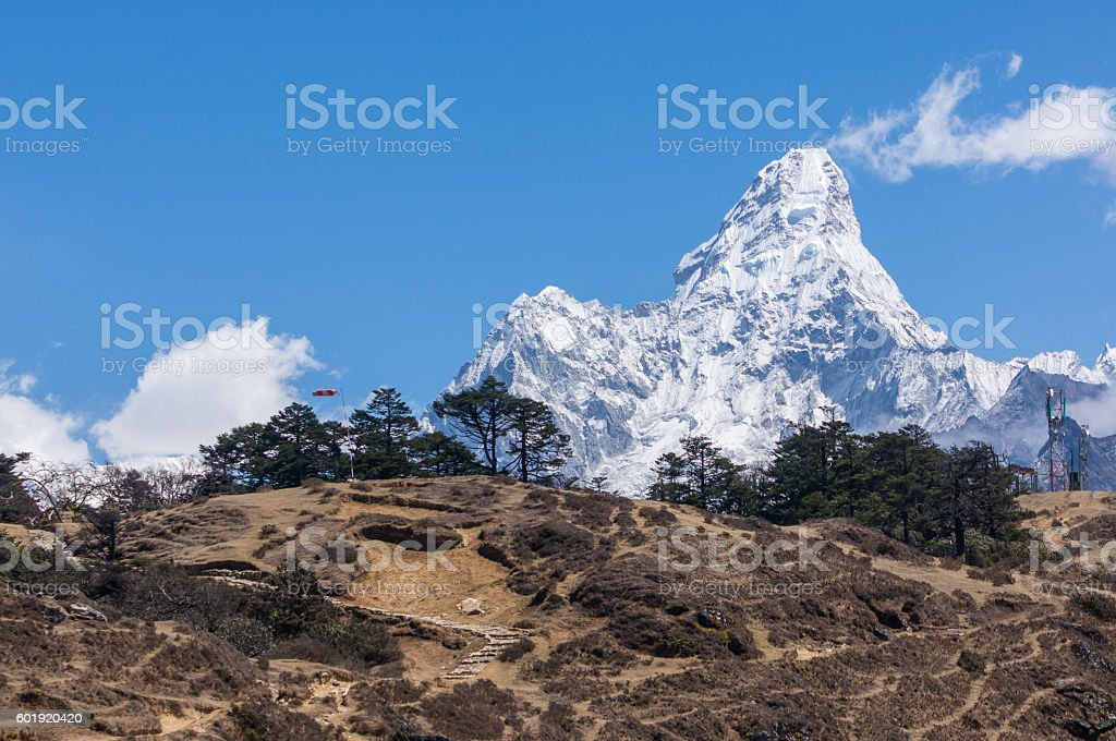 Beautiful view of Ama Dablam from Namche Bazaar stock photo