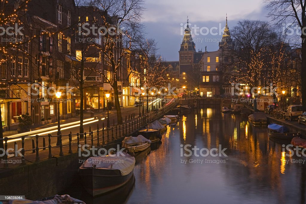 Beautiful view of Amsterdam at night stock photo