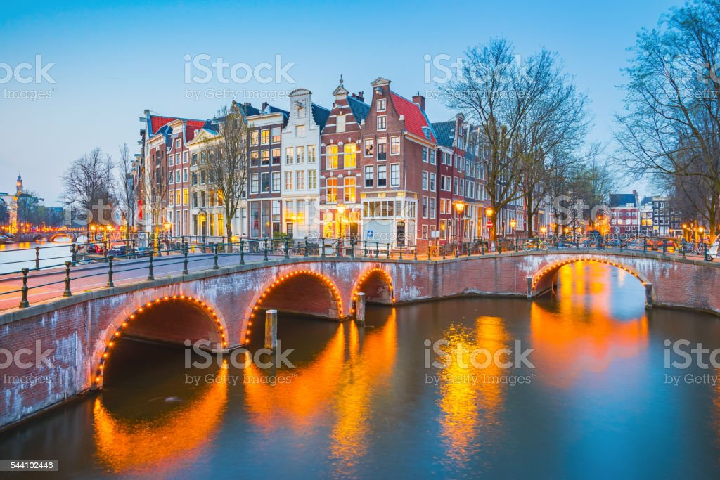 Beautiful view of Amsterdam canals in Netherlands. stock photo