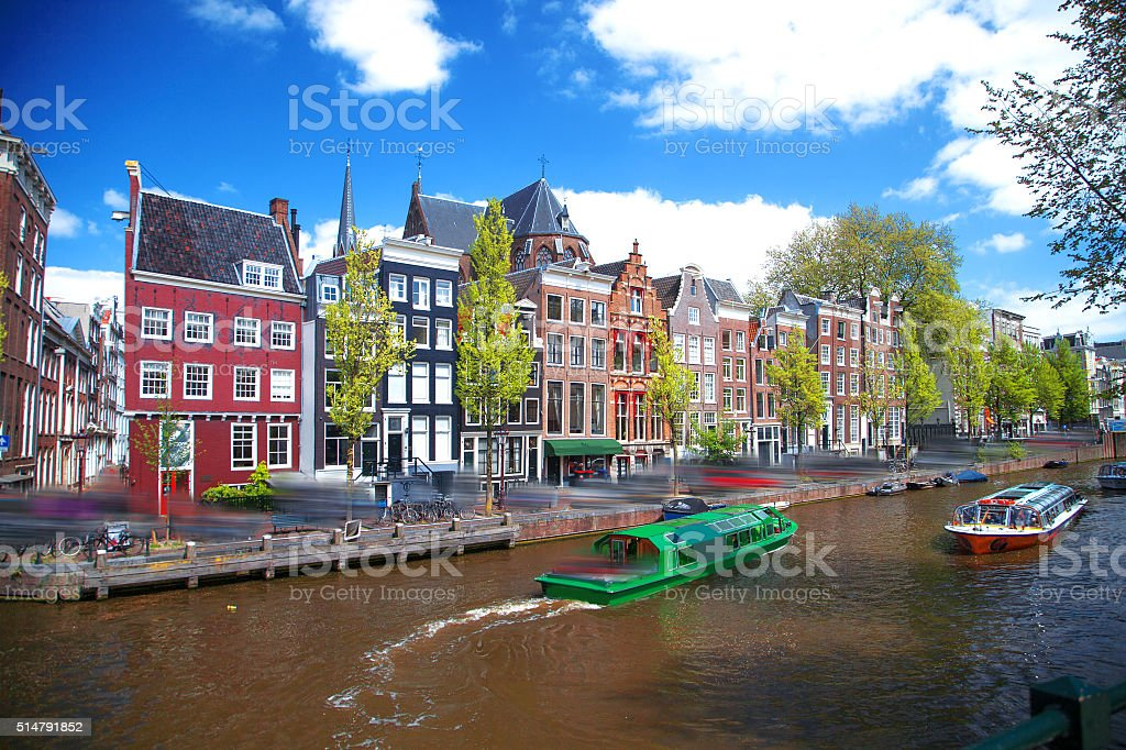 Beautiful view of Amsterdam canals stock photo