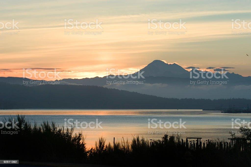 A beautiful view of Anacortes, Washington at sunrise stock photo