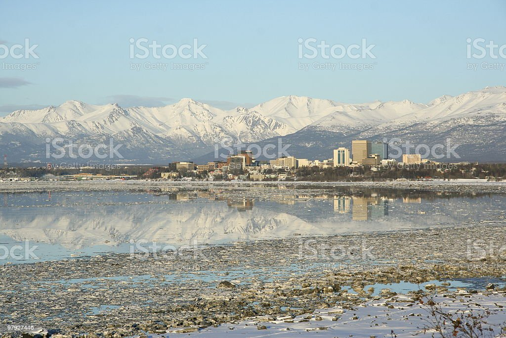 Beautiful view of anchorage Alaska stock photo