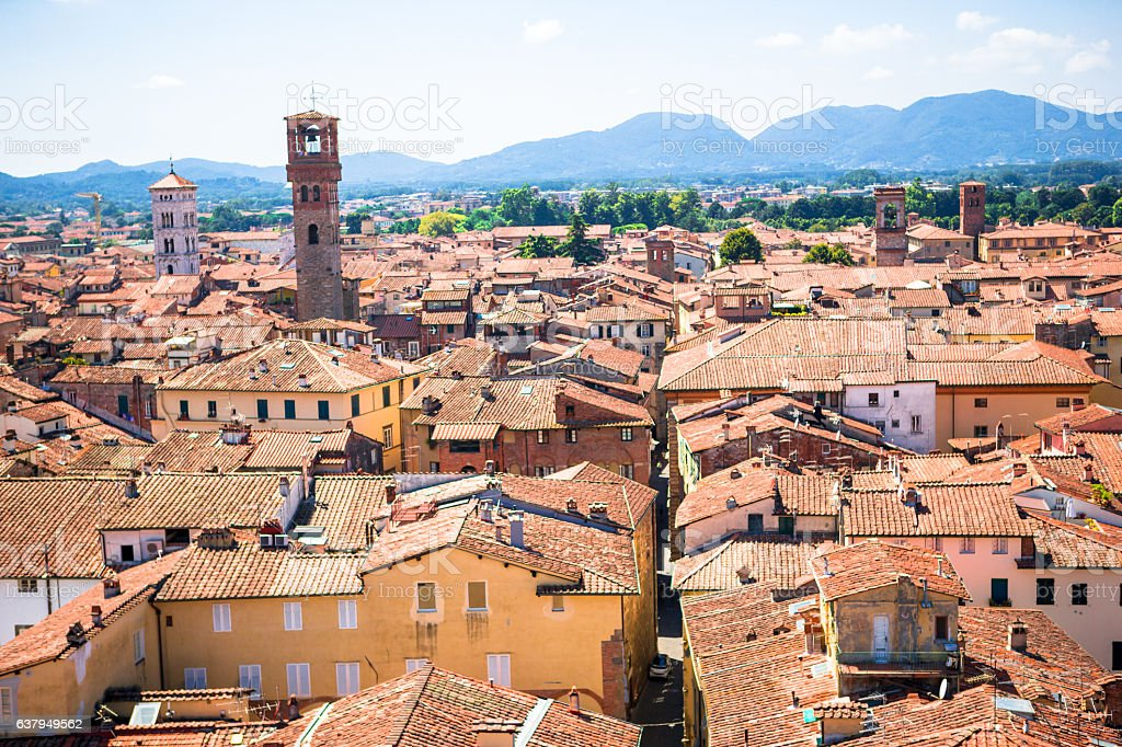 Beautiful view of ancient old buildings with red roofs background stock photo