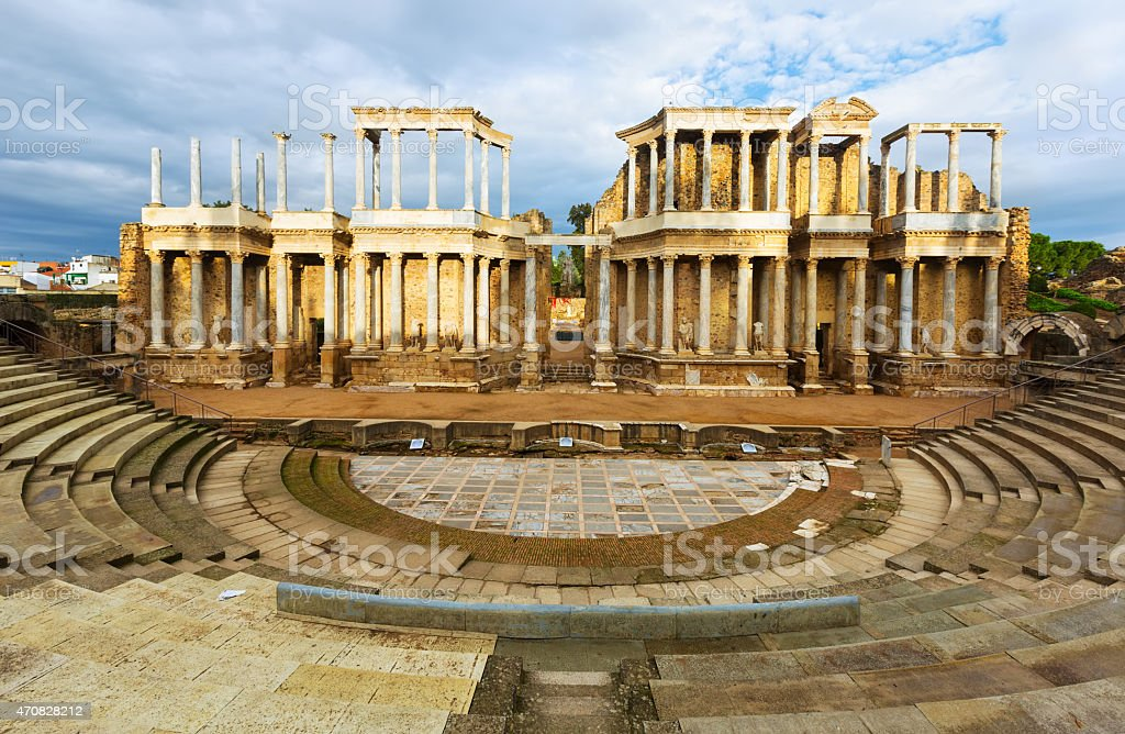 Beautiful view of antique Roman theater stock photo