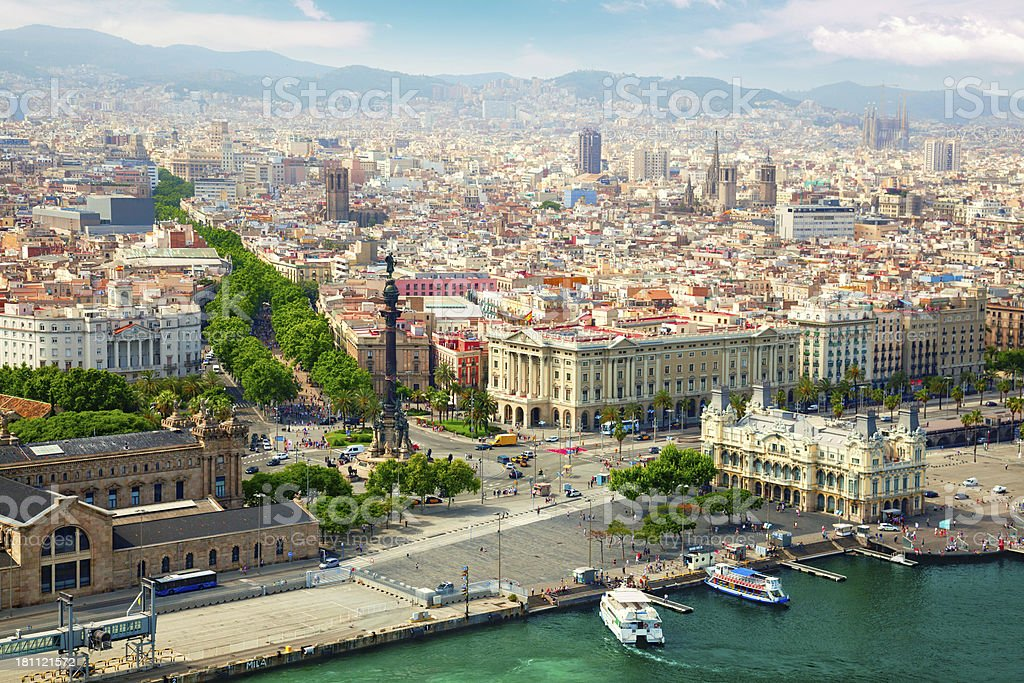 Beautiful view of Barcelona from the river side royalty-free stock photo