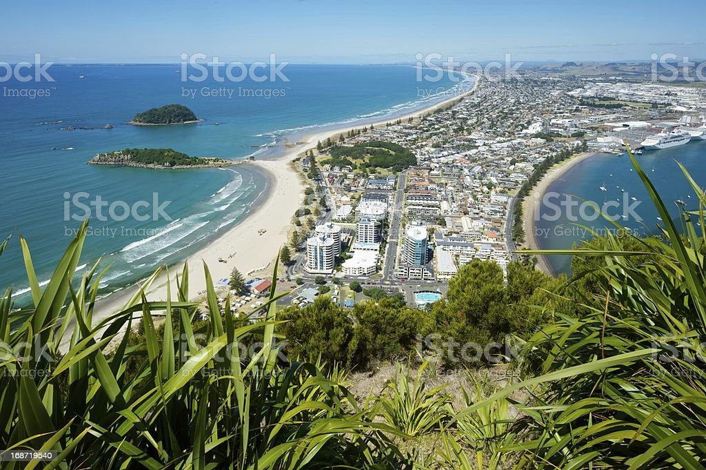 Beautiful view of Bay of Plenty and Mount Maunganui stock photo