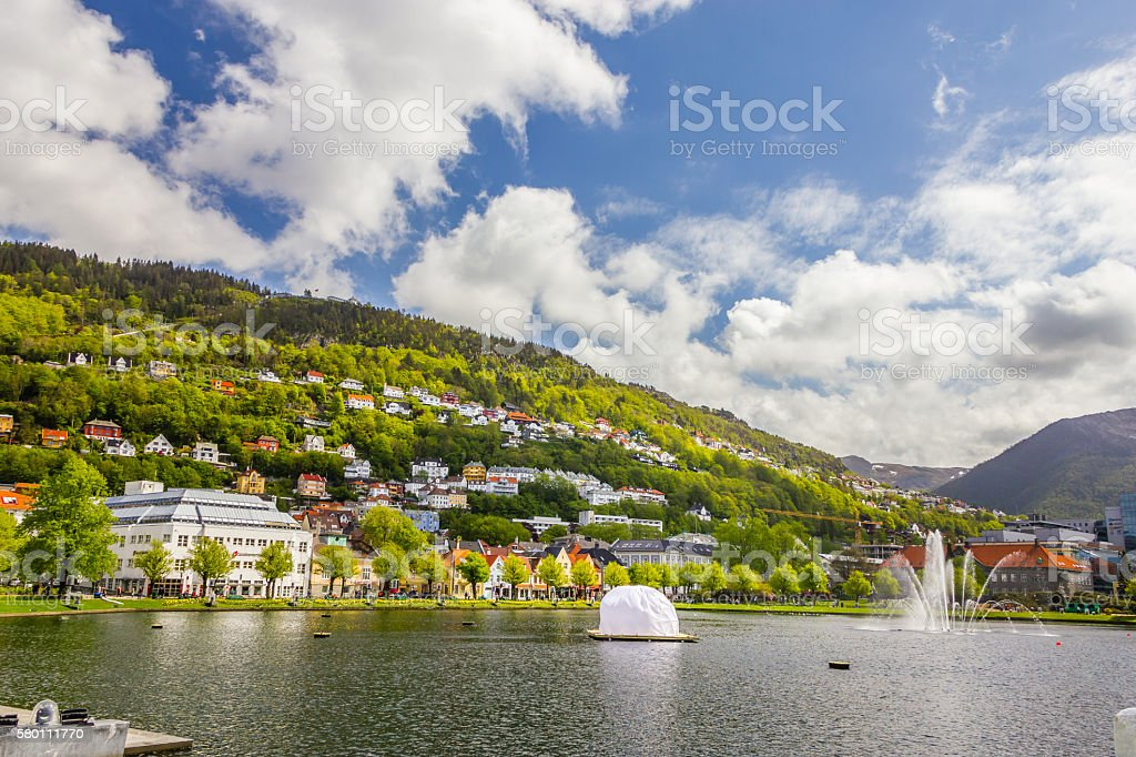 Beautiful view of Bergen city, Norway stock photo