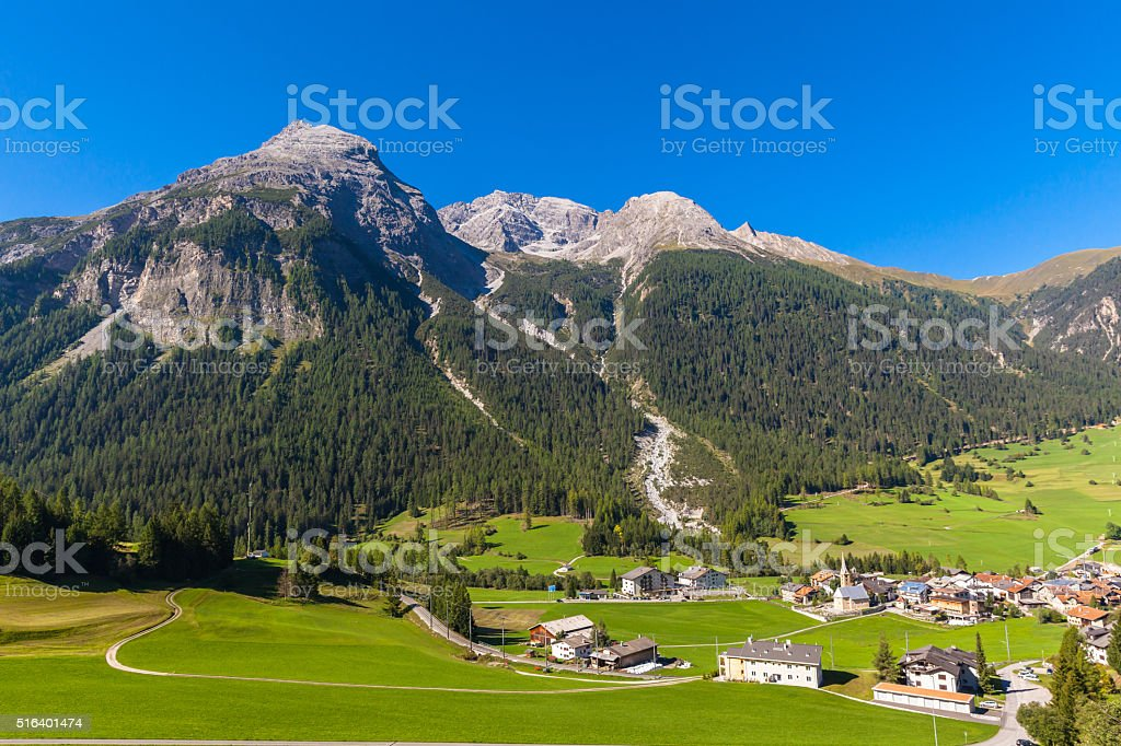 Beautiful view of Bergun in Summer stock photo
