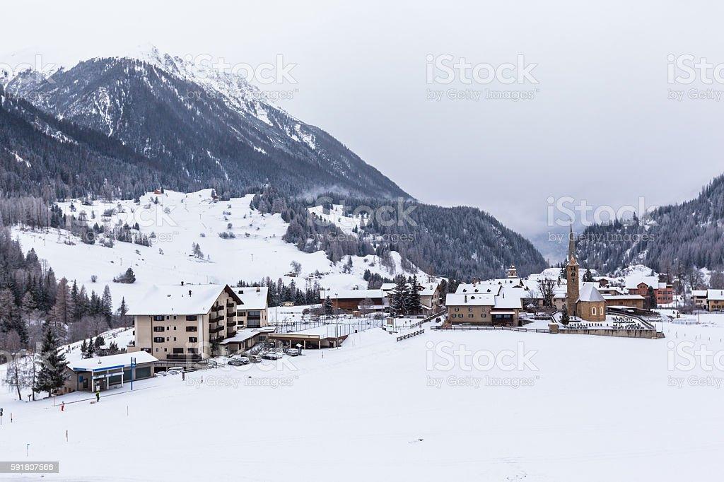 Beautiful view of Bergun in Winter stock photo