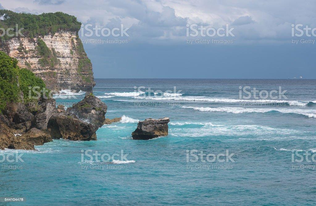 Beautiful view of blue ocean. stock photo