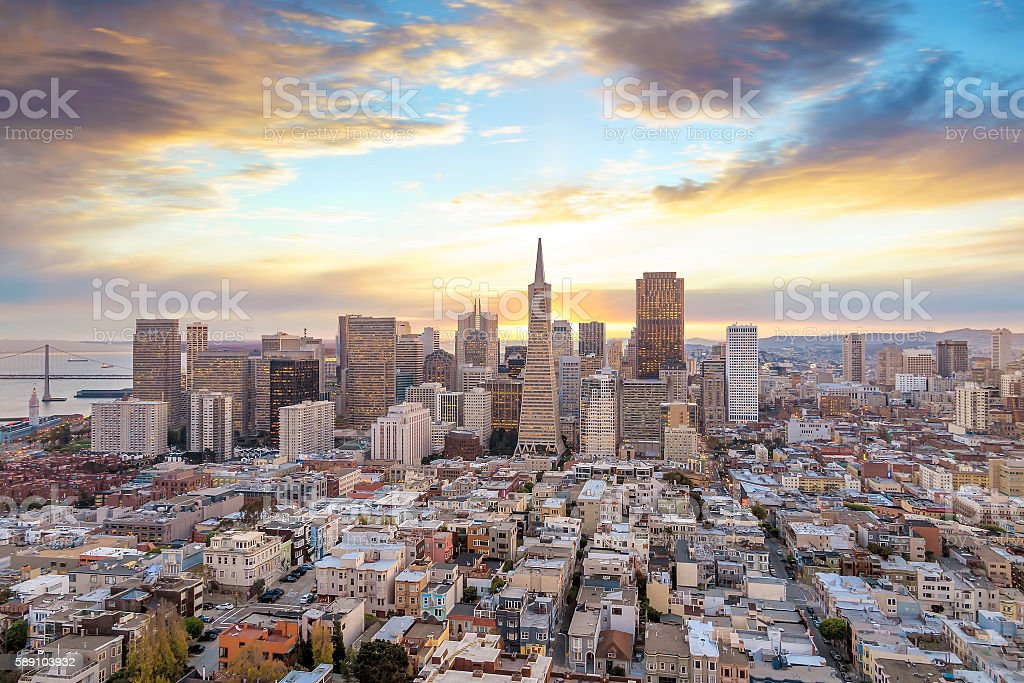 Beautiful view of  business center in downtown San Francisco stock photo