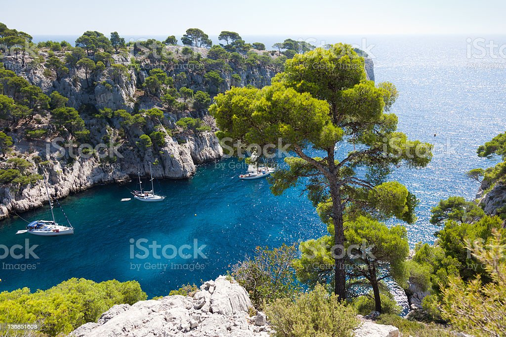 A beautiful view of Calanques of port pin in Cassis stock photo