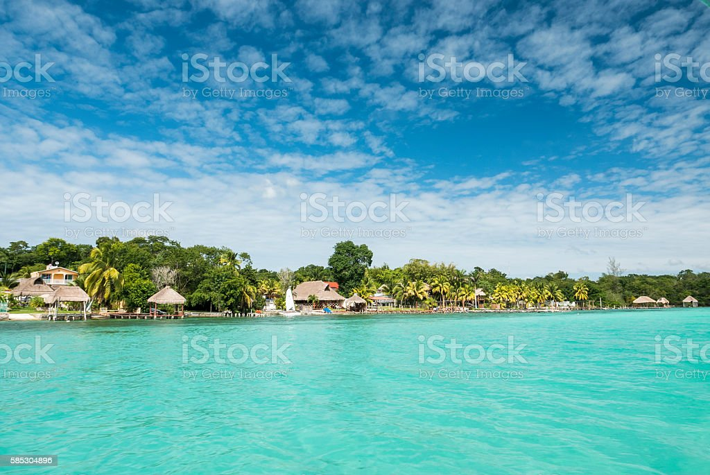 Beautiful view of caribbean lagoon Bacalar. Seven Color water stock photo