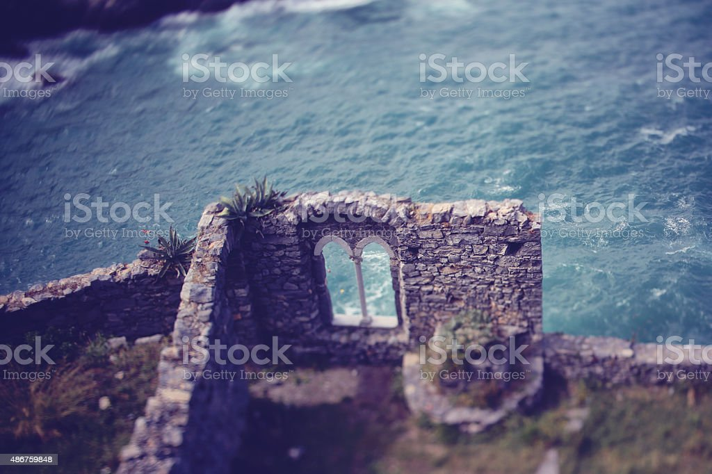 Beautiful view of castle ruins near sea stock photo