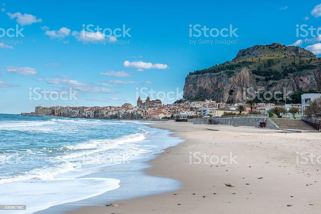 Beautiful view of Cefalu beach. Sicily. Italy stock photo