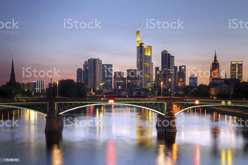 Beautiful view of cityscape in Frankfurt, Germany at night stock photo