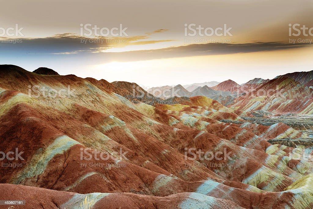 A beautiful view of Danxia at sunset stock photo