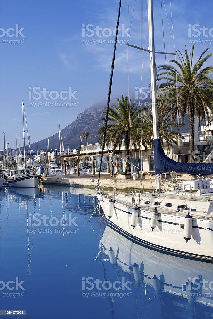 Beautiful view of Denia marina in Mongo royalty-free stock photo