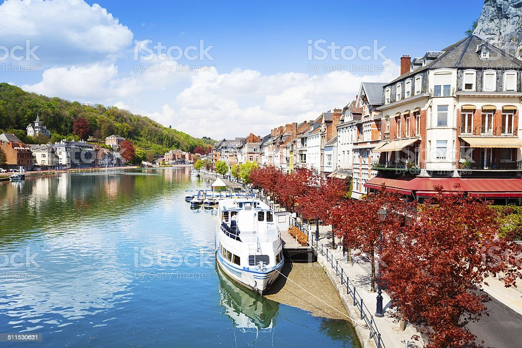 Beautiful view of Dinant cityscape on Meuse river stock photo