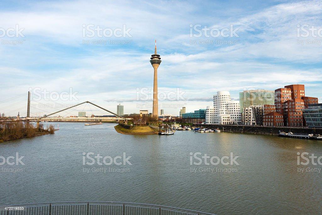 A beautiful view of Dusseldorf media harbor stock photo