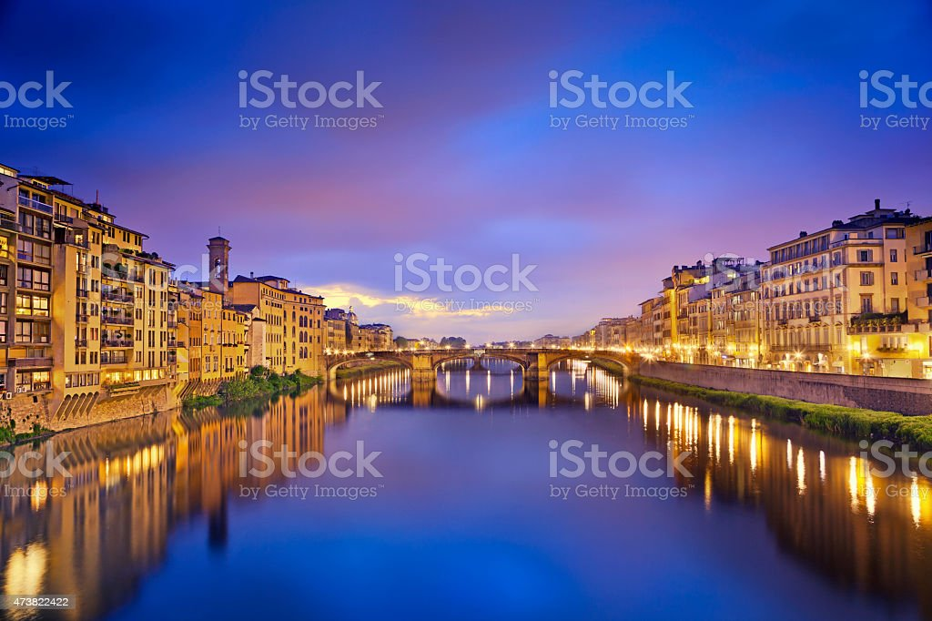 A beautiful view of Florence in the evening stock photo