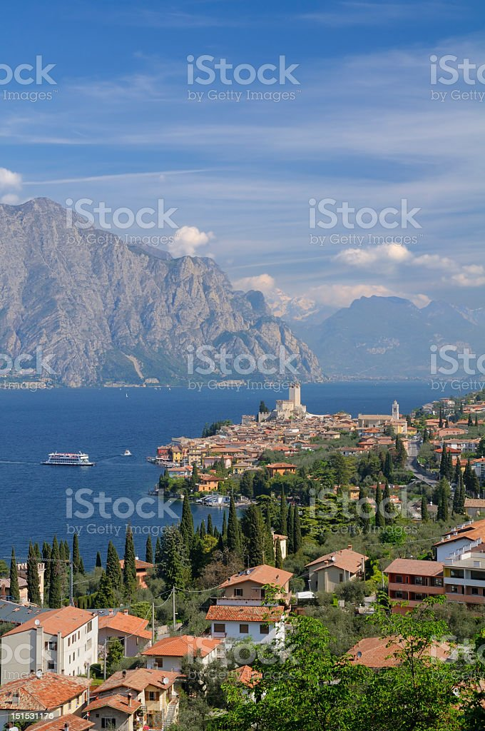 Beautiful view of Garda Lake in Malcasine, Italy royalty-free stock photo