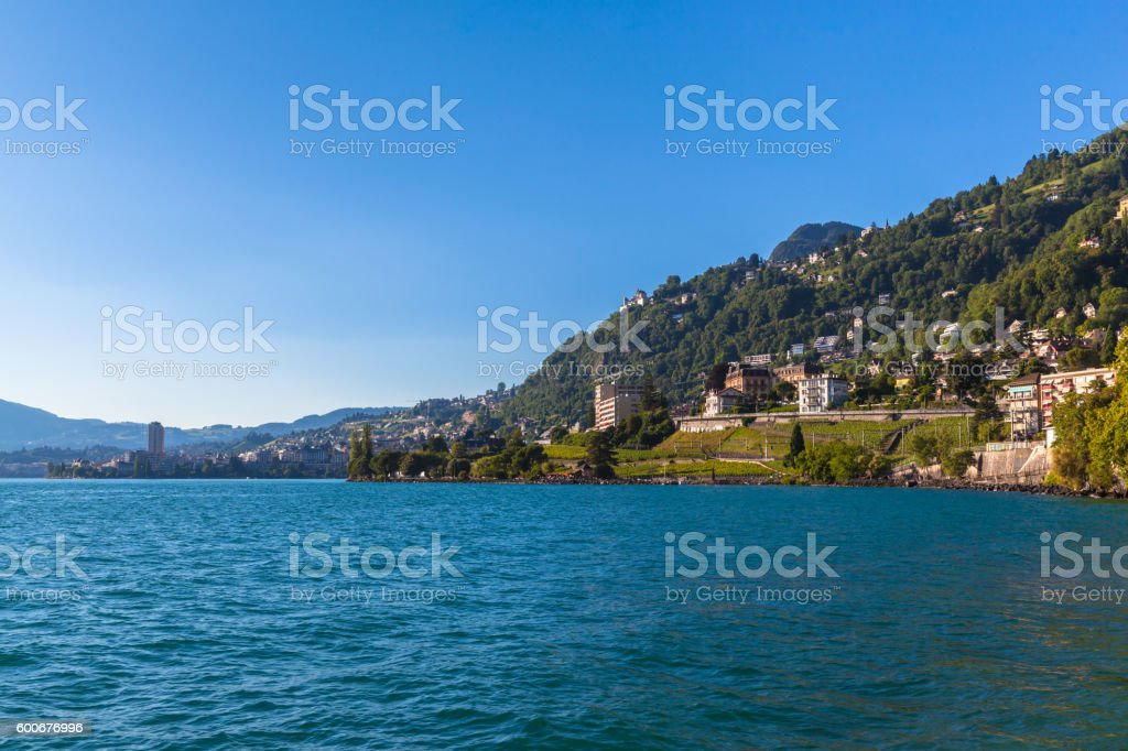Beautiful view of Geneva lake and Montreux stock photo