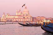 Beautiful view of gondolas in Venice, Italy
