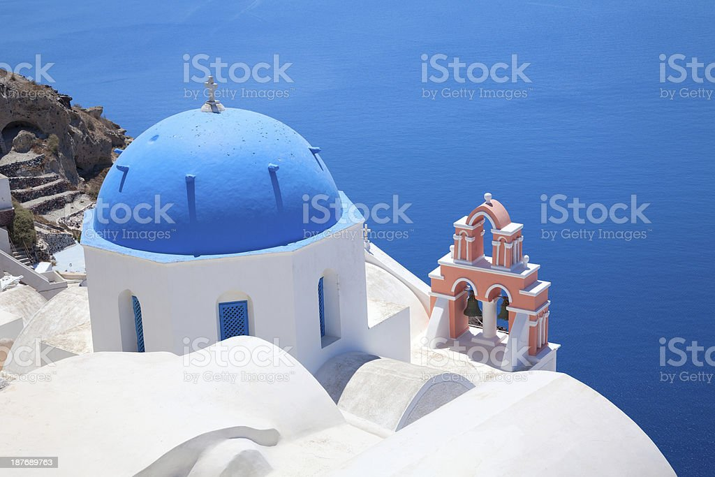 Beautiful view of  Greek churches in the Santorini island royalty-free stock photo