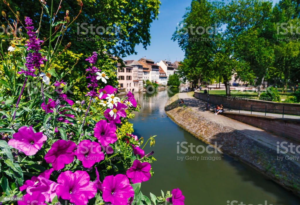 Beautiful view of historic French city of Strasbourg in summer stock photo