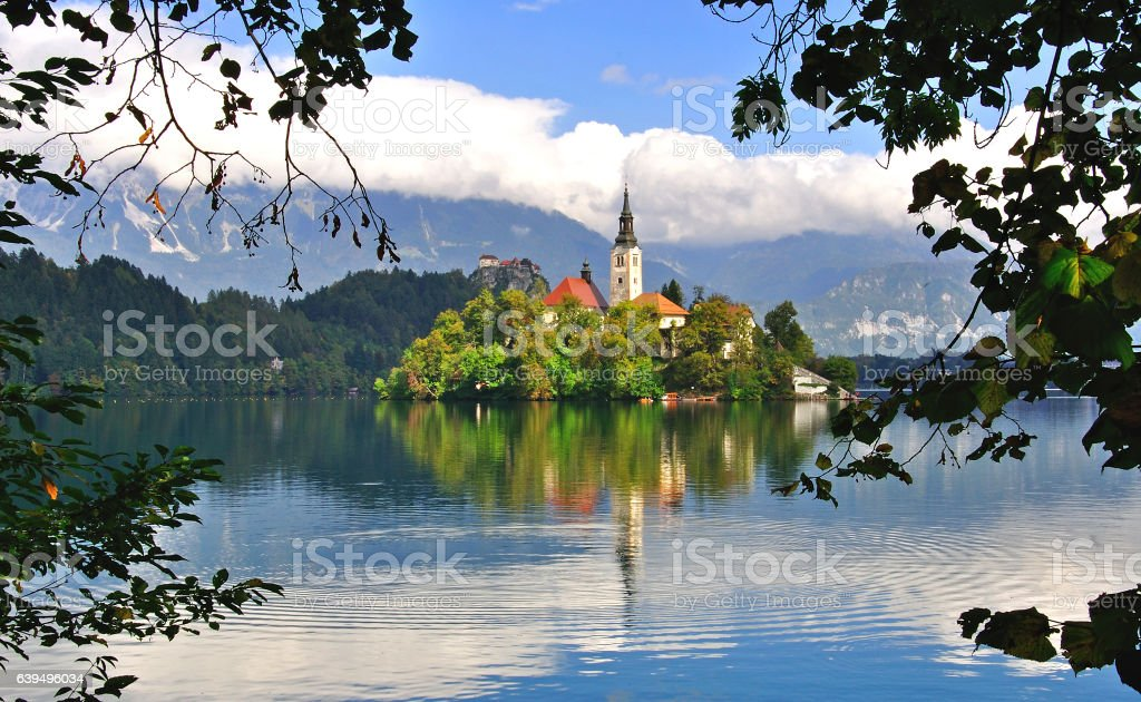 Beautiful view of island with temple on Bled lake stock photo