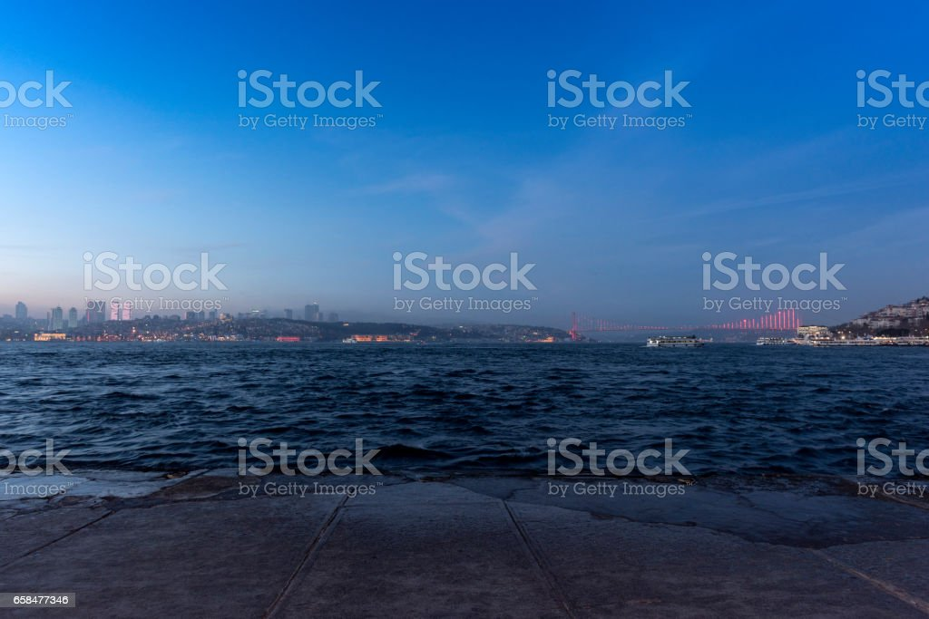 beautiful view of Istanbul bosphorus sea and bridge stock photo