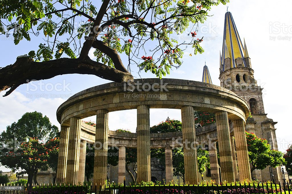 Beautiful view of Jalisciences and Guadalajara Cathedral stock photo