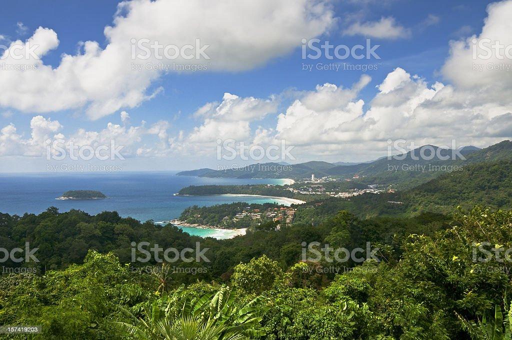 Beautiful View Of Kata and Karon Beach In Phuket, Thailand stock photo