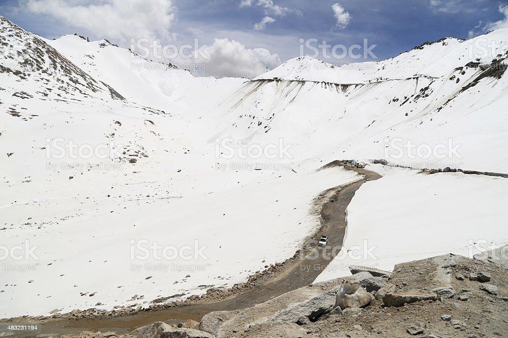 Beautiful view of Khardung La Pass-Leh road on mountain stock photo