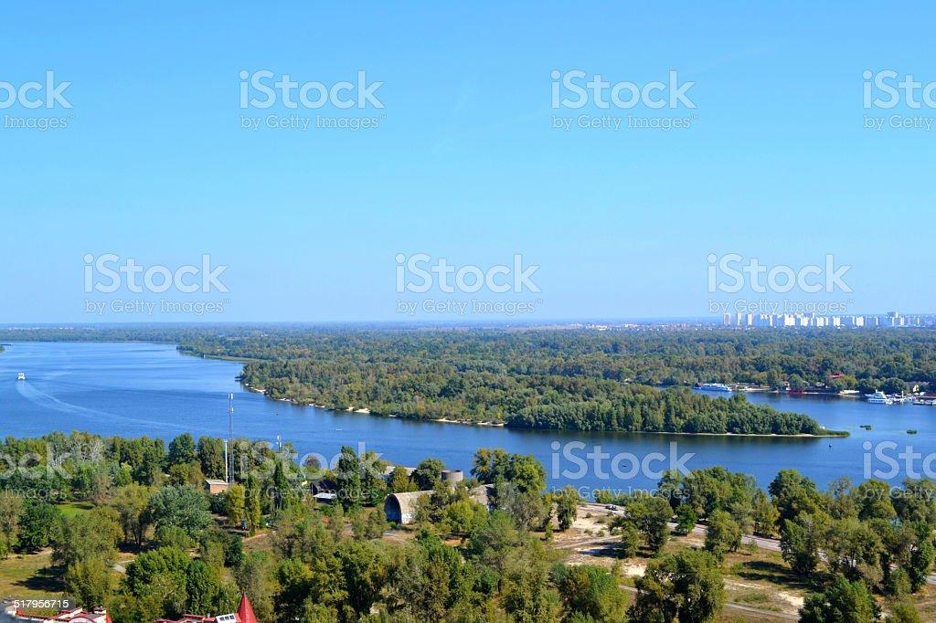 Beautiful view of Kiev river Dnipro and Trukhaniv Island stock photo
