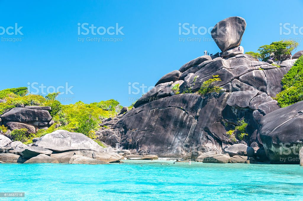 Beautiful view of Koh Similan  with Sailing Boat Rock stock photo
