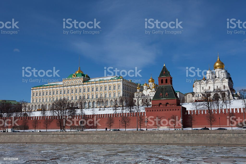 Beautiful view of  Kremlin in Moscow in sunny winter day stock photo