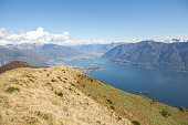 Beautiful view of lake Maggiore and the European Alps