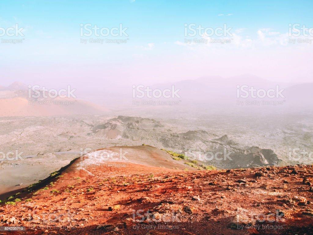 Beautiful view of lava fields in Tenerife. stock photo