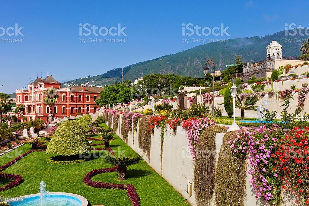Beautiful view of Liceo de Taoro, La Orotava, in Tenerife stock photo