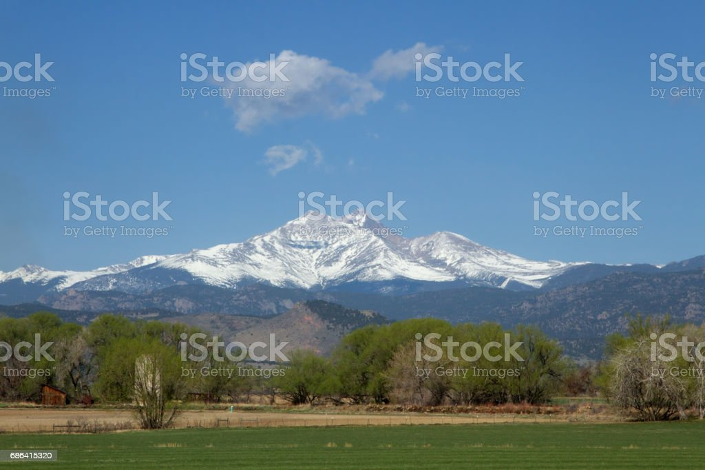 Beautiful View of Longs Peak in the spring or summer time stock photo